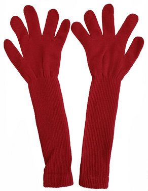Extra lange handschoenen van acryl kleur rood