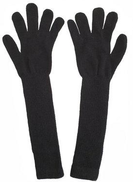 Extra lange handschoenen van acryl kleur zwart