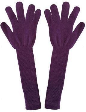 Extra lange handschoenen van acryl kleur lila