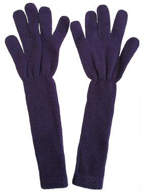 Extra lange handschoenen van acryl kleur donker paars