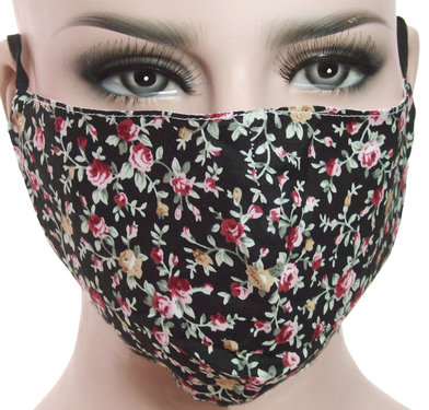 Mondkapje mondmasker wasbaar stoffen herbruikbaar kleur zwart bloemetjes