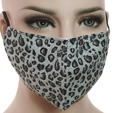 Mondkapje mondmasker wasbaar stoffen herbruikbaar luipaardprint grijs