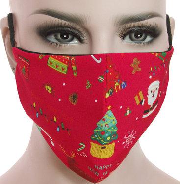 Mondkapje mondmasker wasbaar stoffen herbruikbaar Kerstmis print rood