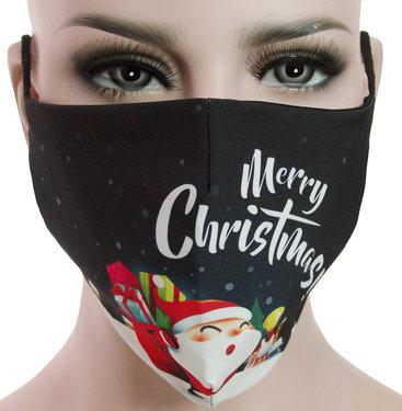 Mondkapje mondmasker wasbaar stoffen herbruikbaar Kerstmis print zwart