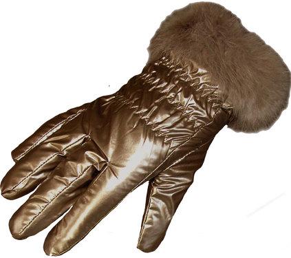 Beige dames handschoenen met bont in metalic look