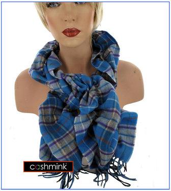 BORA Luxe Cashmink Nova Check Dames Sjaal kleur blauw