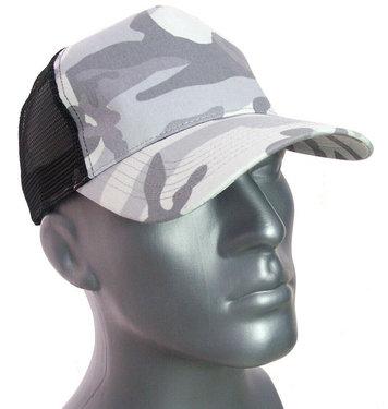 Trucker cap pet snapback mesh achter camouflage zwart grijs maat one size