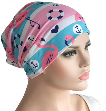 Chemomuts beanie zomerse print flamengo's en ankers roze wit blauw maat one size