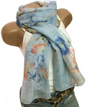 Zomer sjaal bloemenprint blauw maat 190 x 75 centimeter