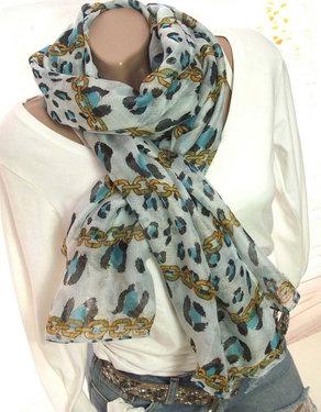 Dames zomer sjaal luipaard ketting print kleur blauw 185 cm x 80 cm