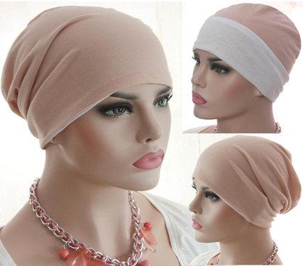 Chemomuts beanie kort of lang te dragen kleur roze maat one size