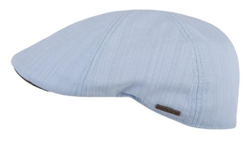 Hatland Headwear Yovanny katoenen flatcap kleur lichtblauw