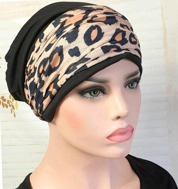 Set van chemomuts en hoofdband luipaard print haarverlies kleur zwart maat one size