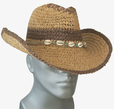 Cowboyhoed western hoed luchtige strohoed kleur bruin met schelpjes