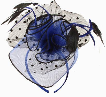 Haarversiering MARIQUE fascinator haarbeugel blauw met zwarte stippen