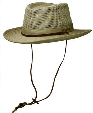 STETSON katoenen outdoor hoed zomerhoed lichtgewicht met kinkoord kleur khaki
