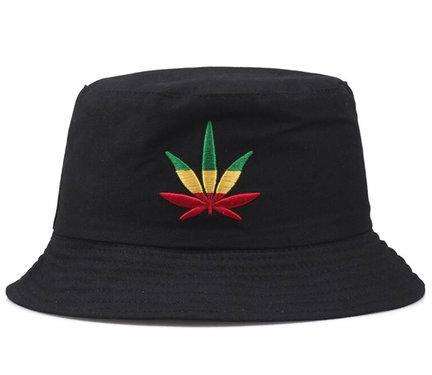 Bucket hat vissershoed zwart wietblad rasta kleuren maat 57 58 centimeter