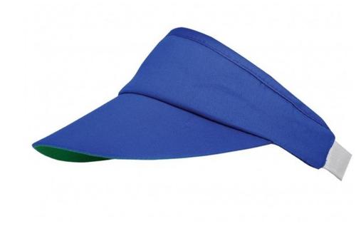 Unisex zonneklep met elastiek achter kleur kobalt blauw