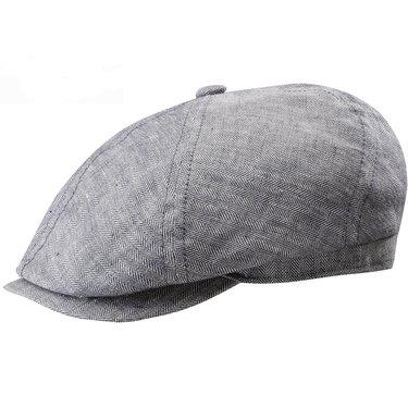 Stetson linnen zomerpet flatcap visgraat motief kleur grijs UPF 40 uv bescherming