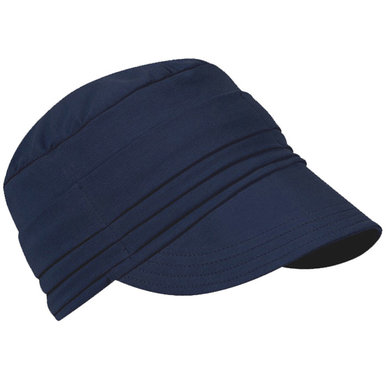 Chemo jersey pet met klepje van soepele stof kleur donkerblauw