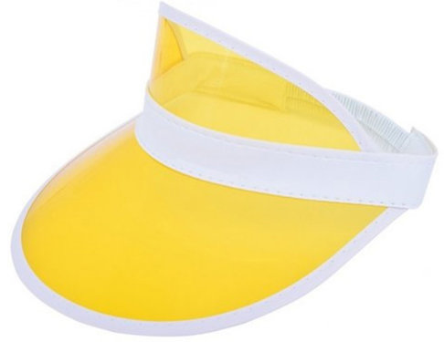 Zonneklep pvc met doorzichtige klep met elastiek achter in geel