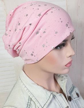 Zomerse chemomuts beanie kleur roze met sterretjes maat one size