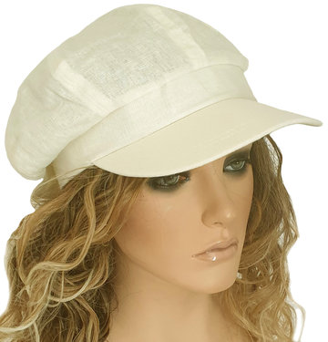 Luchtige katoenen oversized zomer baret damespet met klepje kleur beige naturel maat 57 58 59 centimeter
