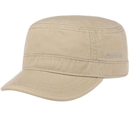 Stetson katoenen army cap cadet cap zomerpet kleur beige zand UV protectie 40 plus maat XXL grote maat