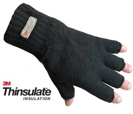 Thinsulate fleece gevoerde vingerloze handschoenen zwart