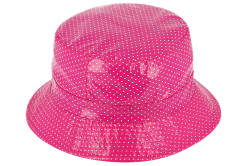 Regenhoedje bucket lak met stippen opvouwbaar kleur roze