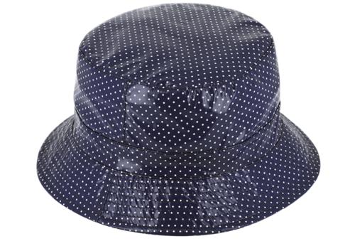 Regenhoedje bucket lak met stippen opvouwbaar kleur blauw