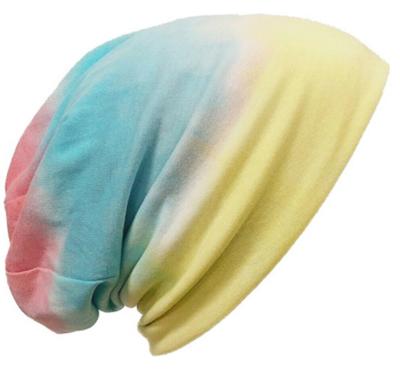 Chemomuts beanie kleurverloop geel roze blauw