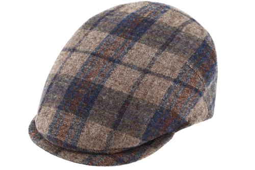 Fiebig klassieke wollen flatcap in de kleur bruin blauw grijs