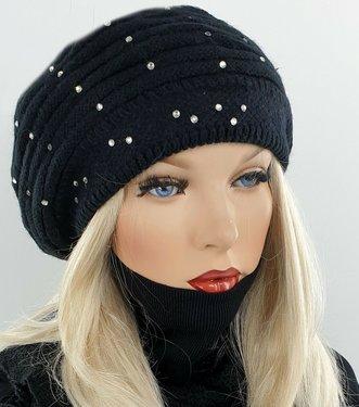 Dubbel gebreide wintermuts baret met strass stenen kleur zwart maat one size