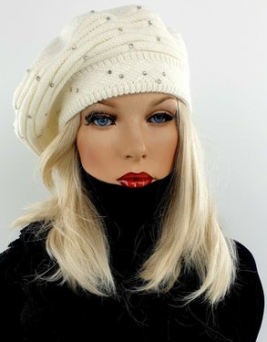 Dubbel gebreide wintermuts baret met strass stenen kleur wolwit maat one size