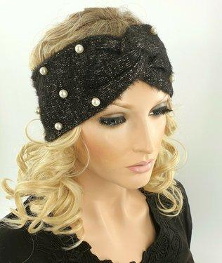 Warme zachte hoofdband haarband met parel versiering van acryl/wol kleur zwart