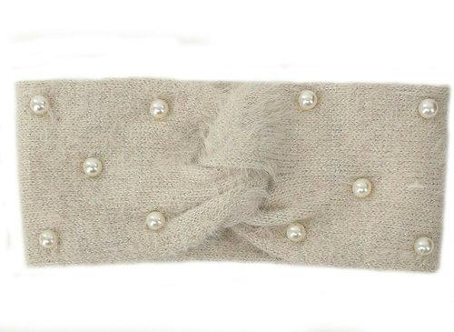 Warme zachte hoofdband haarband met parel versiering van acryl/wol kleur lichtbeige