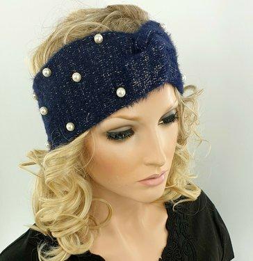 Warme zachte hoofdband haarband met parel versiering van acryl/wol kleur blauw