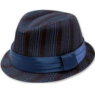 PHOENIX retro hoedje in blauw paars met streepjes