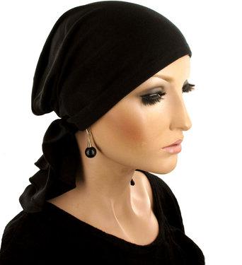 Comfortabele zwarte stretch bandana muts hoofddoekje