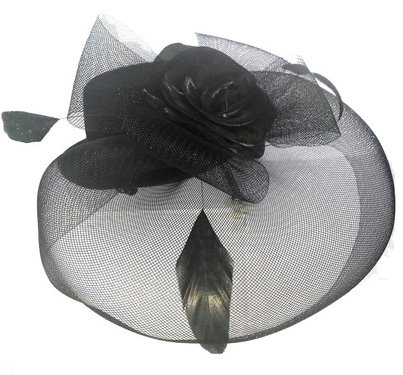 Haarversiering DEBBIE mini hoedje met roosje en sluier