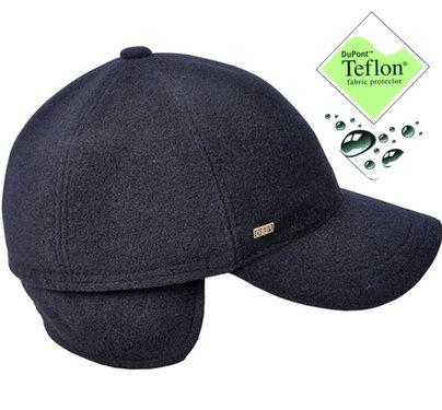 MORITZ Warme donkerblauwe herenpet met oorwarmers TEFLON coating