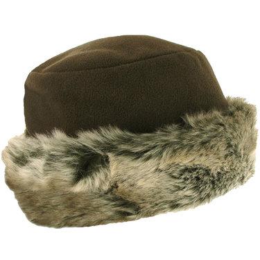 MARA Elegant hoedje met Imitatiebontrand kleur olijfbruin