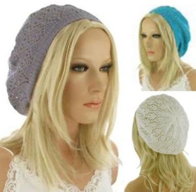 Dames zomer baret mutsje in turqoise en grijs