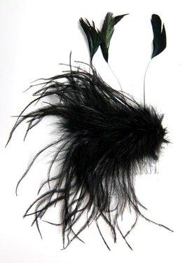 Prachtige haar versiering kleur zwart kammetje met veren