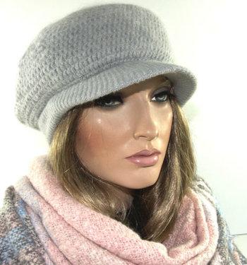 ***WINTERACTIE*** Winter warm dames baretje met kort klepje kleur grijs