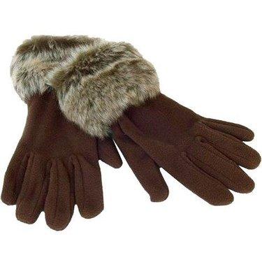 Bruine fleece handschoenen met bontje