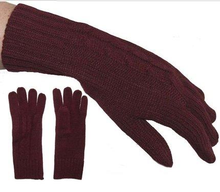 Dames lange gebreide handschoenen in bordeaux rood