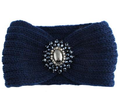 Blauwe gebreide hoofdband met versiering
