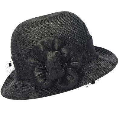 Cloche jaren 20 style van toyostro kleur zwart met bloemversiering